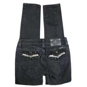 MISS ME Distressed Skinny Flap Pocket Jeans Black